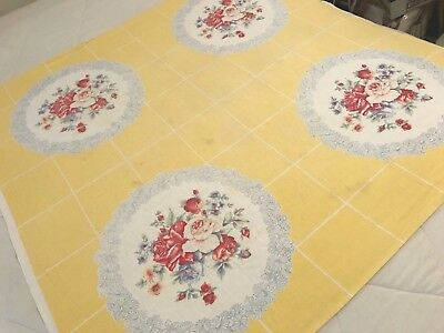 Vintage Shabby Chic Table Cloth Cottage Yellow Red Roses Floral Cotton 46x48 T10