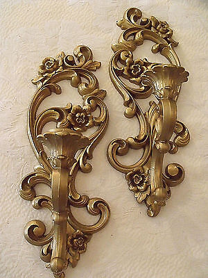 """Candle Wall Sconces Syroco Floral Gold Hollywood Regency Chic 5""""x15"""" Vtg Pr 4418"""