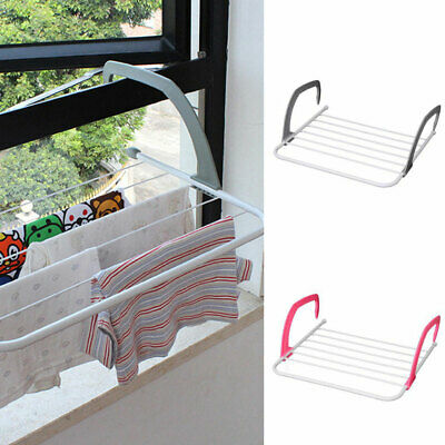 Radiator Towel / Clothes Folding Airer Dryer Drying Rack 5 Rail Bar Holder