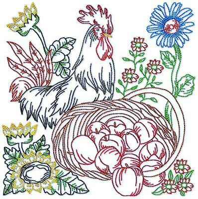 CHICKENS COLOURLINE 17 MACHINE EMBROIDERY DESIGNS CD or USB