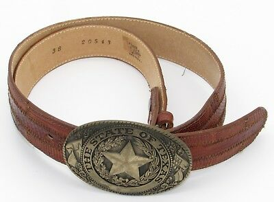 Tony Lama Belt mens 38 Lizard Leather State Texas Series Removable Brass Buckle
