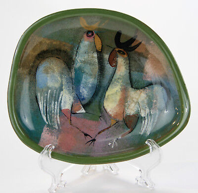 POLIA PILLIN Oval green tray with rooster and a chicken.
