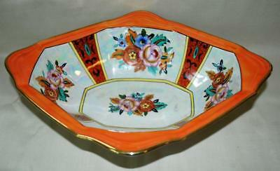 Gorgeous Noritake 4 Handle Sided Relish Bowl Oval Lustre 5 Deco Floral Panels