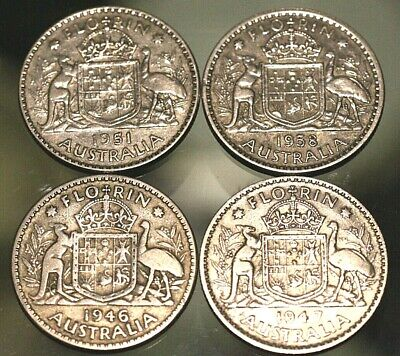 Australia; Florins 1951 1947 1958 1946.  All In Very Good Circulated Condition