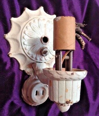 RARE Art Nouveau Spelter Electric Candle Sconce+OUTLET Wall Mount Edwardian