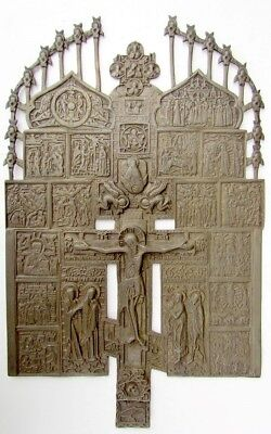 RARE LARGE ANTIQUE 19th cent. RUSSIAN BRONZE CRUCIFIX cross w/ICONS 15.5 by 9.5""
