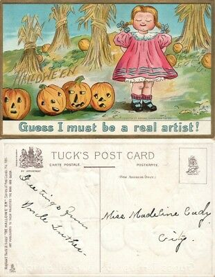 ANTIQUE HALLOWEEN POSTCARD - GIRL w/ JACK-O-LANTERNS