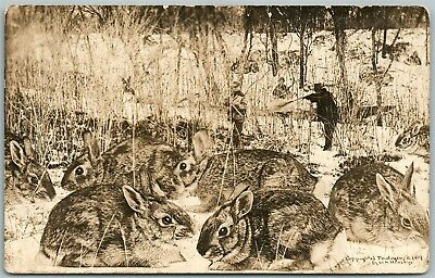 Exaggerated Rabbit Hunting Antique Real Photo Postcard Rppc