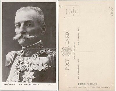 Antique Real Photo Postcard Peter I King Of Serbia Rppc