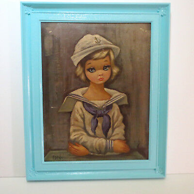 VTG 1960s MID Century Modern Eden Big Eye Kids Sailor Girl Blue Wall Art Print
