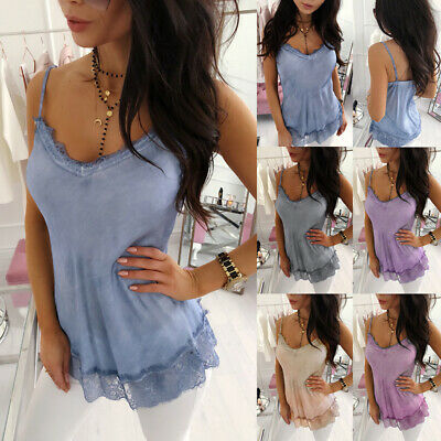Women Tank Top Summer Vest T Shirt Casual Camisole Lace Solid Sleeveless Tops