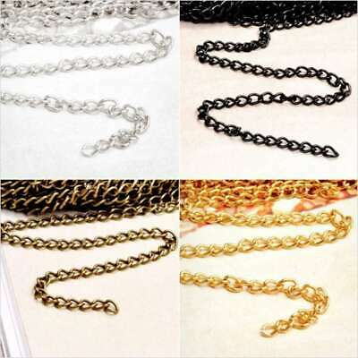 4M 13.12feet Curb Chain Unfinished Chains DIY Necklaces 0.8x3x4mm 4 Colors BW