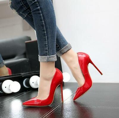 Womens Wedding Shoes Pointed Toe Stilettos High Heels Pumps Sexy Patent Leather