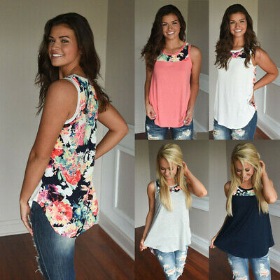 Womens Sleeveless Floral Vest T-Shirt Ladies Summer Tee Beach Tank Tops Blouse