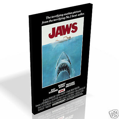 Iconic Jaws 1975 Movie Poster * Top Quality Box Canvas Ready to Hang * A1 A2 A3