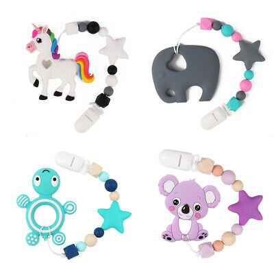 Baby Teether Silicone Beads Teething Toy Bead Pacifier Chain Bracelet Chew Toys