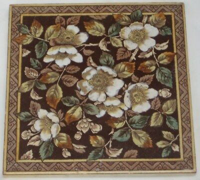 Vibrant Period English  Tile Colourful Flower Decoration