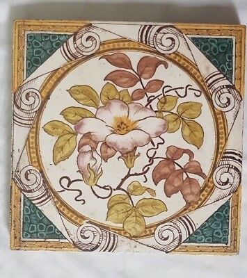 Stunning Floral Motif Antique Six Inch Tile