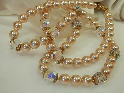 Vintage 70s Very Nice Cream Facet Pearl AB Crystal Heavy Necklace, nice 569J5