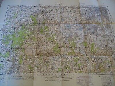 Vintage WINDSOR Ordnance Survey War Office map 1931 cloth edition -  sheet 114