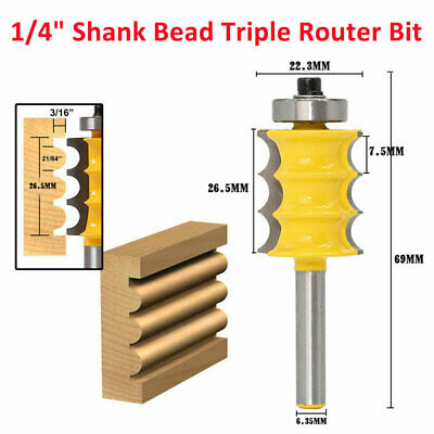 "1/4"" Shank Triple Bead Triple Flute Large Molding Router Bits Woodworking Tools"