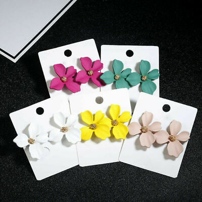 Fashion Boho Painting Big Flowers Ear Stud Earrings Women Charm Bridal Jewelry