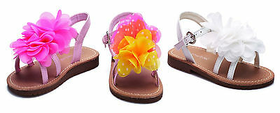 New Girls Infant Chatterbox Summer Beach Flat Ruffled Flower Sandals Party Shoes