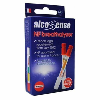 Alccosense Disposable Alcohol Breathalyser Tester Driving French Legal Twin Pack
