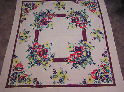 Vintage Tablecloth Bright Colors Garden Flowers Poppies Daisies on Pale Pink