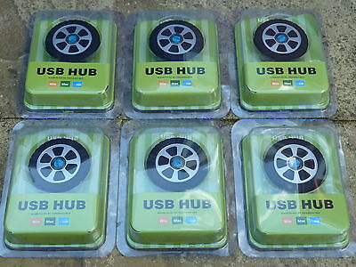 JOB LOT 6 PC USB 2.0 4 PORT HUB BRAND NEW! CAR WHEEL SHAPED Windows Mac Computer