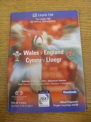 03/02/2001 Rugby Union Programme: Wales v England [At Cardiff Arms Park].  Thank