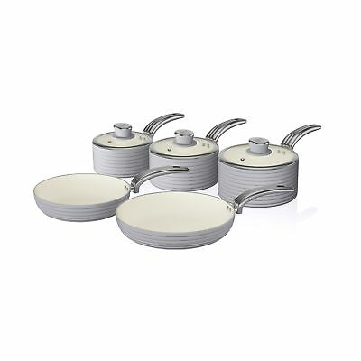 Swan Cook Grey Retro Set of 5 Non Stick Sauce and Frying Pan Set ALL Hob Types
