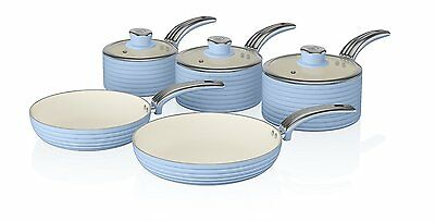 Swan Cook Blue Retro Set of 5 Non Stick Sauce and Frying Pan Set ALL Hob Types