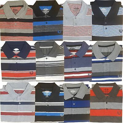 Mens Polo T-Shirts Striped Pique Shirt Summer Top Tee Short Sleeve Casual Collar