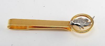 Vintage Men's Gold Plated Brass Big Mouth Bass Slip On Back Tie Clip Clasp Used