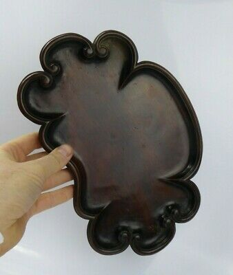 Chinese Antique Carved Wood Ruyi Form Tray / Scholars Brush washer Qing FINE