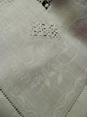Antique White Floral Damask Linen Tea Luncheon Tablecloth w/Drawnwork 46x46