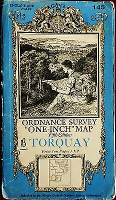 No 145 OS 1932 PAPER ROAD MAP of TORQUAY ONE-INCH Price 1/9