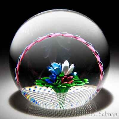 Saint Louis 1994 upright bouquet in a basket glass paperweight
