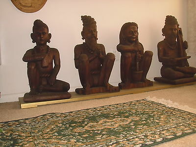 ANTIQUE JAINS RELIGIOUS WOODEN STATUES--hand carved --old --four total