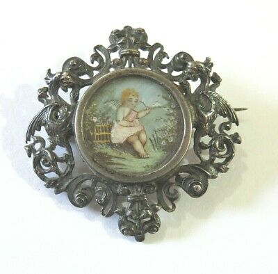 Antique Silver Brooch Pin With A Hand Painted Portrait Miniature Of A Cherub