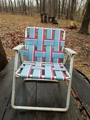 Vintage Child's Size Aluminum Folding Webbed Lawn Chair Chase Lounge