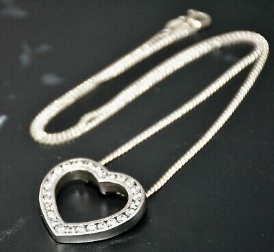 "Ladies Solid 925 Sterling Solid Silver 18"" Crystal Heart Charm Neck Chain"