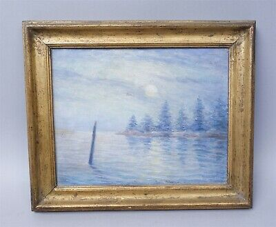 Beautiful e20c Howard B Spencer Moonrise Boothbay Harbor Maine Oil Painting