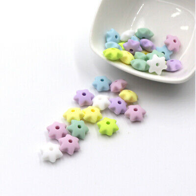 20X Silicone Beads Star Baby Teether Teething Toys Bead Chewing Soother Necklace