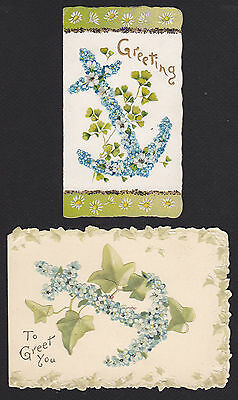 2-Christmas-New Year-Victorian-Anchor-Nautical-Flowers-Antique-Greeting Card Lot
