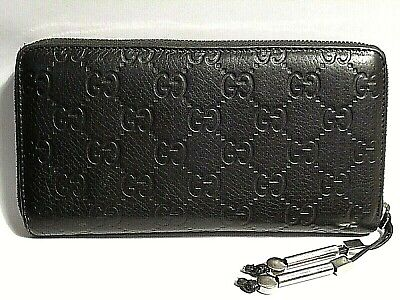 fc67f4ac80d Authentic Gucci Zipper Wallet   Card Holder Black Logo Leather in Box