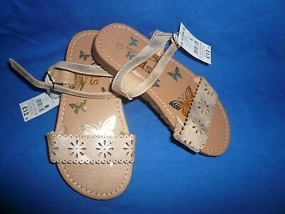 BNWT Girls Size 10 M & Co Sandals ~ Gold with Flower Cut Out Pattern