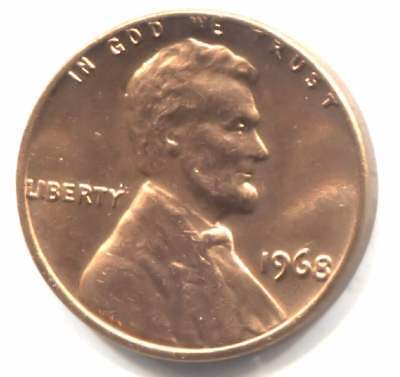 1968 Lincoln Memorial Penny Uncirculated American One Cent Coin Philadelphia