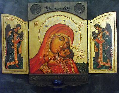 Virgin Mary ,St. Michael & Gabriel Archangels Triptych Hand Painted,Carving Icon